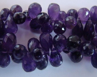 Amethyst Faceted Drops 7 mm to 14 mm