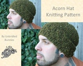 Men's Acorn Hat Knitting Pattern Instant Download- Bulky Yarn- Slouchy Beanie