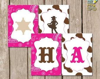 INSTANT download: Cowgirl Party -  Hot Pink Happy Birthday Cow girl Banner - Printable PDF file