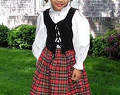Scottish Tartan Three-Piece Traditional Dress for Girls Handmade Plaid