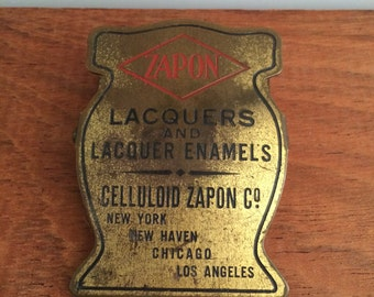 Vintage brass advertising clip - Zapon Lacquers and Lacquer Enamels