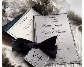 Wedding Invitations, Black Tie Wedding Invitation, black and silver invitation, wedding invitations
