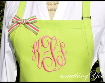 Monogrammed Apron Three Initial - Personalized Circle Script Fonts Custom bridesmaids hot pink lime green preppy customized Lilly P style