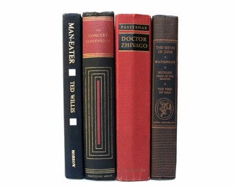 Black and Red Vintage Books / Book Decor / Home Decor / Library Filler / Decorative Books / Interior Design / Photo Prop / Wedding Decor