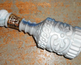 Vintage Decanter, Beam, Dispenser, Milk Glass, Liquor Decanter, Liquor Bottle, Whisky Bottle, Ornate, Barware