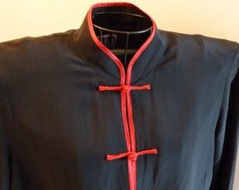 Vintage Mandarin Chinese Silk Jacket Women's Size Medium