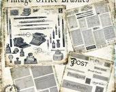 Vintage Office Ephemera & Postcards Photoshop Brush Set -  Scrapbook / Photoshop Tools - 71 Brushes - Instant Download - 71 .abr Files