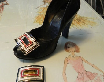 50s 60s Shoe Clips.  Red White and Blue!