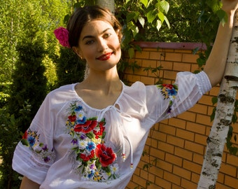 """Hand embroidered dress """"Soul flower"""" ukrainian hand embroidery"""