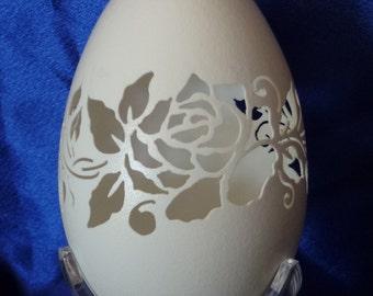 Carved Goose Egg: Rose
