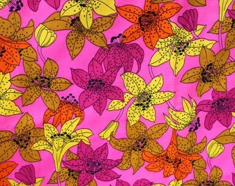 Vintage Hot Pink Floral Fabric, 70s 1970s Island Lily Hippie Flower Power Retro Mod Material Fabric 2 1/4 yard