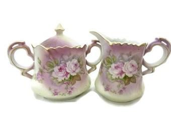Lefton Porcelain Creamer and Sugar Set in Pattern NE 2689
