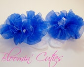 Bright Royal Blue Organza Newborn Infant Toddlers and Girls SUPER RUFFLE SOCKS by Bloomin Cuties Boutique