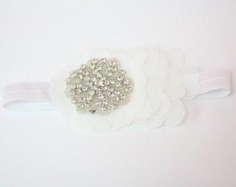 Chiffon Flower Headband, Swarovski Headband, Newborn Baby Headband, Elastic Headband, Photo Prop, Hair Accessories
