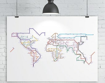 World Map Print - Subway Map / Tube Map / Metro Map, A2 size (24in x 16in approx.) Map of the World Art Print