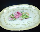 Vintage/Antique Stoneware or Ironware Platter - Beautiful Pink Rose Design - Heavyweight Platter Marked 1847