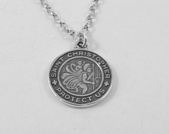 Sterling Silver Saint Christopher Protect Us Pendant on Sterling Silver Rolo Necklace - 1508