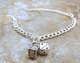 Sterling Silver Traditional Charm Bracelet with a Sterling Silver Dice Charm - 3241