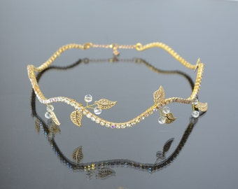 Gold Rhinestone Bridal Headband, Rhinestone Tiara, Bridal Headpiece, Wedding Headpiece, Bridal Crown, wedding hair accessories