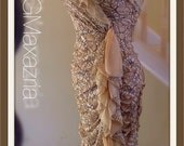BCBG Maxazria dress stretch lace knee length strapless side ruffle ruched latte and black lace dressy mother of the bride groom sze 6