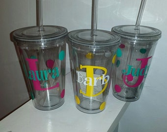 Personalized Tumbler- Monogrammed Cup- Personalized Cup- Cup with Monogram- Teacher Gift- Secretary Gift- Bridesmaid Gift- Custom Monograms
