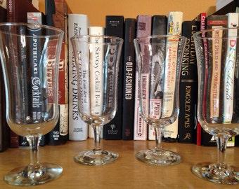Vintage Hurricane Cocktail Glasses : Set of 4 matching, hurricane cocktail glasses (4.25 ounce glasses)