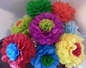 Tissue Paper Fiesta Flowers - Set of 8 Tissue paper flower - Parties decor//Cinco de Mayo//Decoration