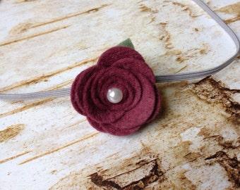 Plum Wool Felt Headband, Baby Headband, Flower Headband, Plum