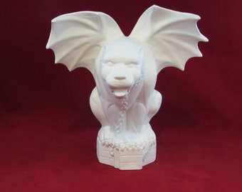 Ceramic ready to Paint Crouched Gargoyle- 10 inches - hand made, indoor or outdoor, lawn or garden