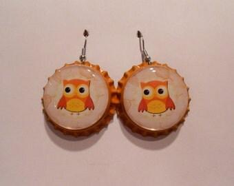 Autumn Owl bottle cap earrings