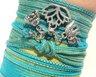 Lotus Bracelet, Yoga Jewelry, Buddha Bracelet, Wrap Bracelet, Boho Bracelet, Trendy Bracelet, Wrist Wrap Bracelet, Silk Ribbon Wrap, Gifts