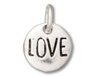 Sterling Silver 8mm Love Message Round Charm (sku 4755 - Chss-AF-BZ)