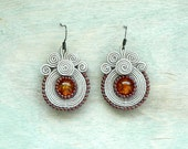 Small soutache earrings Beige orange brown Fall autumn fashion Hand embroidered earrings Beaded earrings