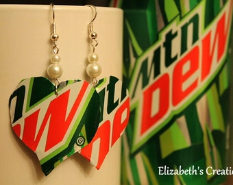 Hearts Recycled Mountain Dew Soda Can Earrngs with Whie Pearls