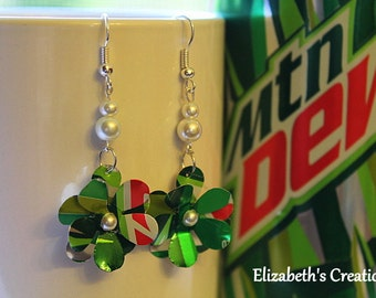 Flowers with Pearls Recycled Mountain Dew Soda Can Earrngs