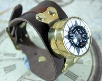Steampunk wrist compass, steampunk, brass mounted compass, brown leather cuff