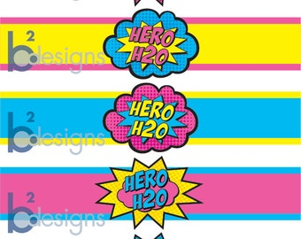 Superhero Waterbottle Labels • Hero H20 • GV2 Color • INSTANT DOWNLOAD