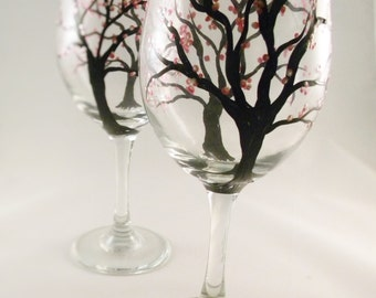 Hand Painted Wine Glasses - Cherry Blossoms