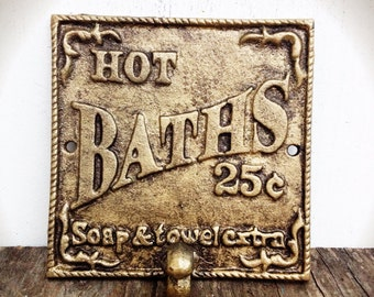 BOLD shimmering gold & bronze glazed BATH sign towel hook // vintage french country victorian // wall hook // cast iron decor // shabby chic