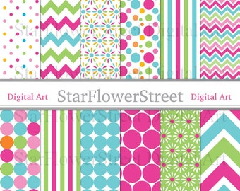 Girl Digital Paper Scrapbook Background - chevron polka dot flower pink turquoise blue green photography birthday party baby wedding shower