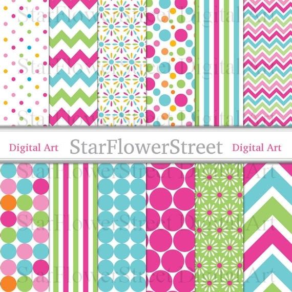 girl digital paper scrapbook background chevron polka dot
