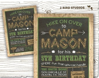 Camping invitation - Camping party invitation camping birthday party - DIY Printable invitation - Chalkboard campout sleepover invitation