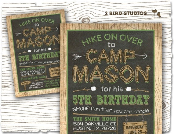 camping invitation camping party invitation by 2birdstudios