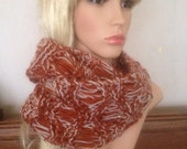 Ooak unique womens brown designer alpaca rust,cream lace effect hand knit/crocheted cowl,scarf,infinity neckwarmer