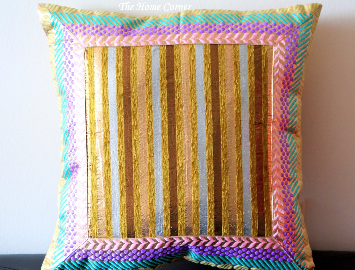 Eclectic Mix Of Pillows : Decorative Pillow Pastel Shimmer Pillow Embroidered Pillow