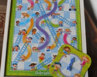 Childs Game - Children Board Game- Nursery Wall Decor-Chutes and Ladders -Repurposed Child's Room Wall Art -Unique Childs Room Wall Decor