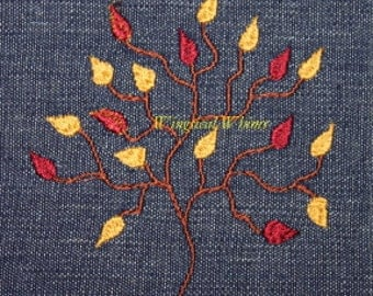 Fall Tree Digitized Machine Embroidery Cooking Autumn