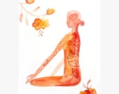Woman in harmony abstract original watercolor painting, Yoga Art