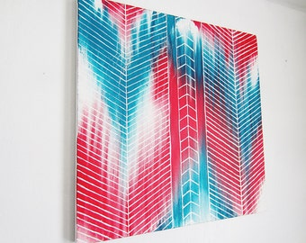 chevron artwork- herringbone home decor- ikat oil painting- 20x20 canvas art- modern abstract- teal turquoise salmon- original artwork- gift