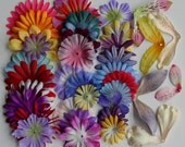 Flower petal skirts and wings for flower fairy dolls